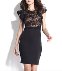 Short Length Dress – Black Color / Rounded Neckline