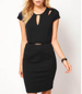 Fitted Black Dress – Belt Detail / Short Length and Short Sleeves