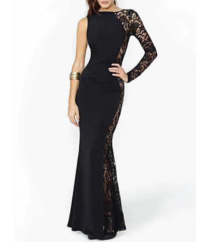 Maxi Dress – Black Color / One Arm / Lace Detailing