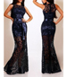 Navy Blue Black Fitted Maxi Dress – Lace / Ribbon Belt Feature