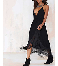 Black Fringe Long Dress – Three Quarter / Spaghetti Straps