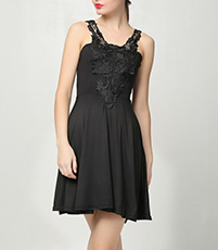 Little Black Dress – Black Lace and Bows / Ruffled Jabots