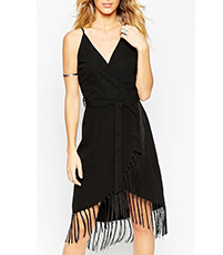 Black Fringe Dress – Deep V Front Plunges / High Low Hem