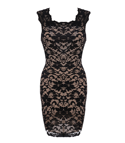 Lace Covered Bodycon Dress – Black / Sleeveless / Classic Tank Style