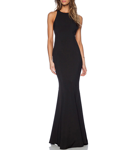 Mermaid Style Maxi Dress – Low Plunging Back / Solid Black