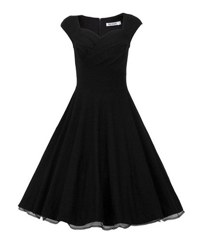 Vintage Chiffon Dress – Black / Semi-Full Skirt / Sleeveless