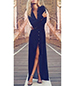 Exquisite Black Floor Length Evening Dress – Walking Slit / Long Sleeves