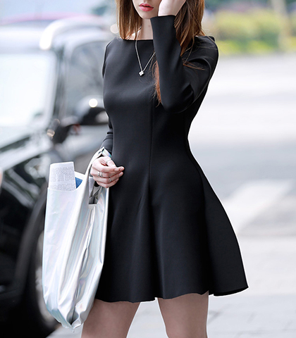 Fit and Flair Mini Dress – Long Sleeves and Flared Skirt in Black