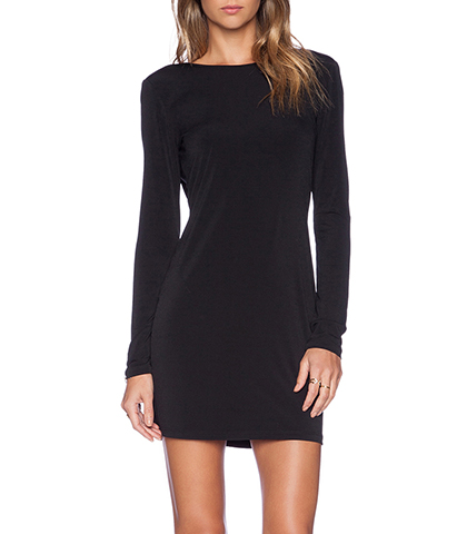 Basic Black Long Sleeved Slim Mini Dress – V Back Neckline
