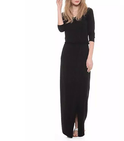 Casual Long Black Dress – Long Sleeves and a High Walking Slit