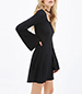 Basic Black All Occasion Mini Dress – Long Sleeves / Rounded Neckline