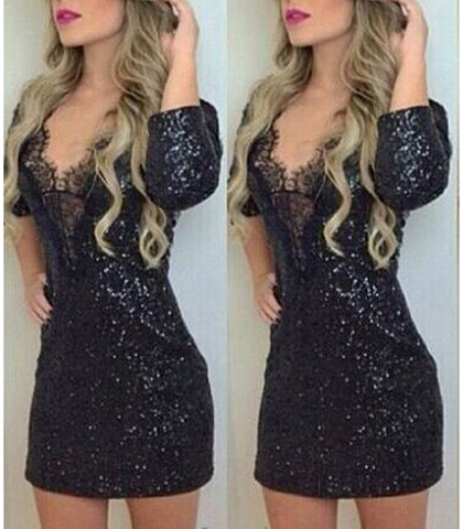 Sparkly Mini Dress – Solid Black / Long Sleeves