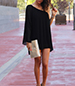 Mini Dress – Solid Black / Off One Shoulder / One Long Bell Sleeve
