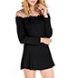 Off Shoulder Mini Dress – Solid Black / Long Sleeves / Short