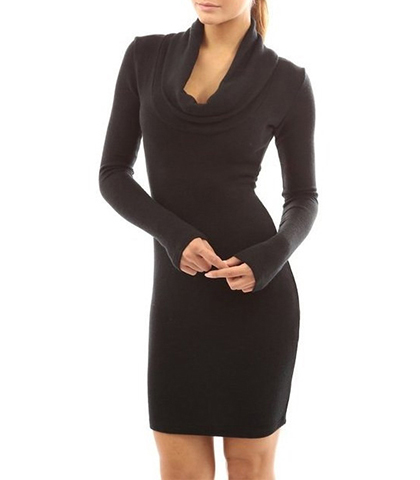 Bodycon Dress – Jet Black / Long Sleeves / Attractive Cowl Neckline