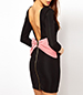 Mini Bodycon Dress – Solid Black / Pink Bow In The Back