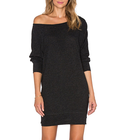 Cold Shoulder Dress – Solid Black / Long Sleeves / One Shoulder