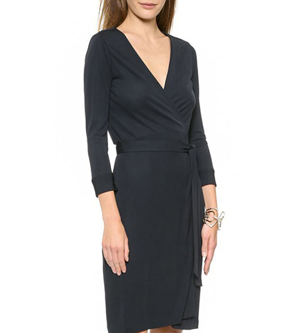 Long Sleeved Dress – Solid Black / Self-Tie Belt / Knee Length