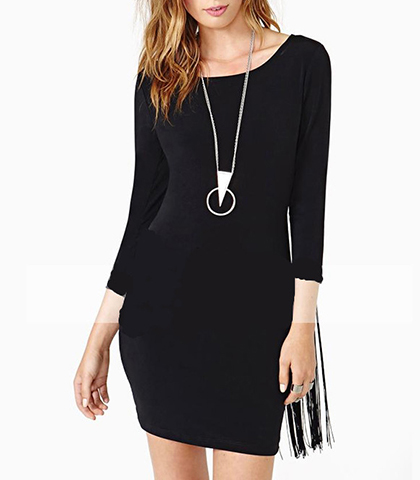 Fringed Dress – Solid Black / Bodycon Style