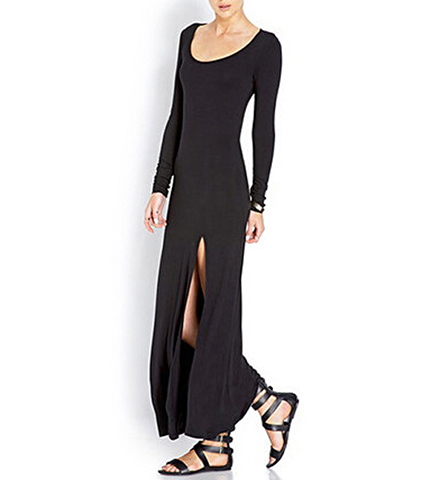 Long Sleeved Maxi Dress – Black / Side Slits / Graceful Ballet Neckline