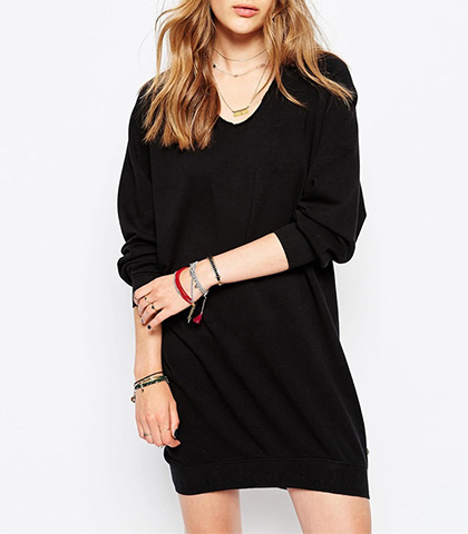 Shift-Style Mini Dress – Solid Black / Vee Neckline / Long Roomy Sleeves