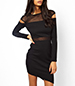 Alluring Bodycon Dress – Solid Black / Mesh Inserts and Cutouts