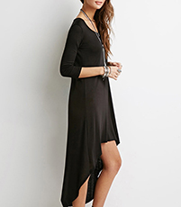 High-Low Dress – Solid Black / Long Sleeves / Loose Comfortable Fit