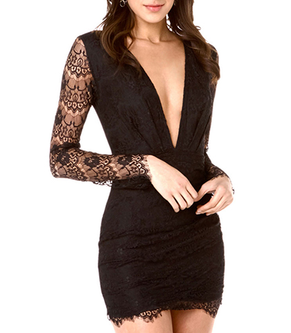 Fitted Bodycon Dress – Solid Black / Lace Sleeves / Vee Shaped Neckline