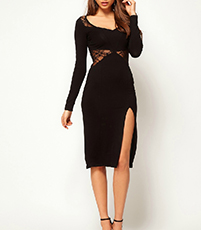 Midi Dress – Solid Black / Mesh Inserts / Opaque Fitted Bodice