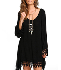 Fringed Mini Dress – Solid Black / Rounded Neckline