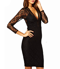 Knee Length Evening Dress – Solid Black / Lace Sleeves