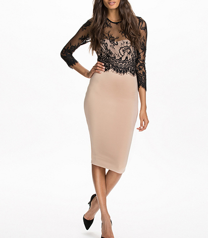 Midi Length Bodycon Dress – Beige / Black Lace Top