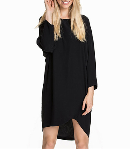 High-Low Dress – Solid Black / Dimple Rounded Neckline