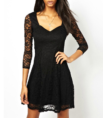 Sweetheart Mini Dress – Solid Black / Lace