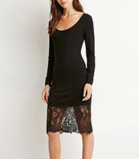Stretchy Bodycon Dress – Jet Black / Lace / Knee Length