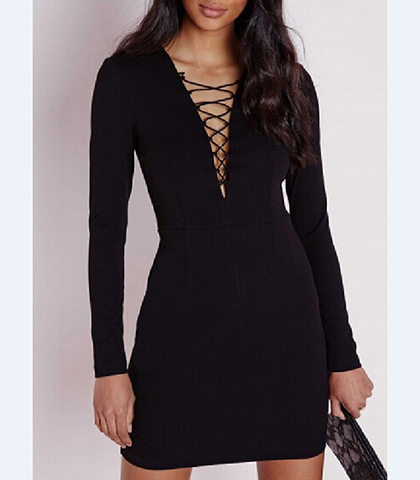 Mini Dress – Jet Black / Front Lace Detail