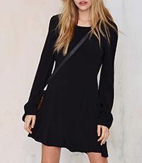 Long Sleeved Velvet Mini Dress – Solid Black / A Line