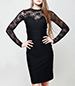 Knee Length Dress – Basic Black / Lace / Sweetheart Neckline