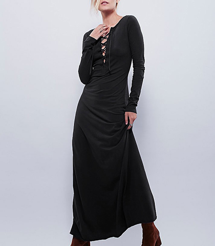 Long Sleeve Maxi Dress – Solid Black / Lace Up Detail