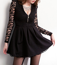 Mini Chiffon Dress – Solid Black / Long Lace Sleeves
