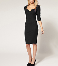 Bodycon Dress – Solid Black / Knee Length / Rectangular Notch Neckline
