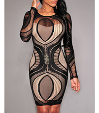 Black Bodycon Dress – Nude Lining / Patterned Overlay