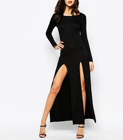 Figure Hugging Black Long Dress Long Sleeves Double Slit