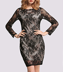 Long Sleeved Sleek Dress – Black Lace Applique / Satiny Shift