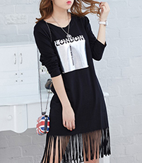 Black Tee Shirt Fringe Dress – London Logo at Front