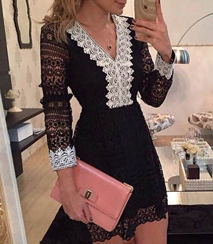 Black Mini Dress Lace Sleeves Contrasting White Lace Trim