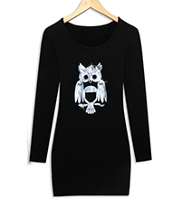 Mini Sweater Dress – Black Bodice / Owl Print