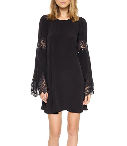 Long Sleeved Mini Dress – Lace Accents / Pleated Skirt / Black