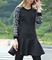 Princess Short Dress – Long Sleeves / Black With Sequins