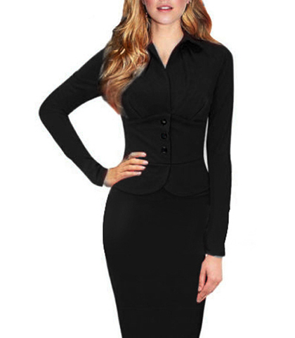 Business Dress Long Sleeves Wing Collar Black Knee Length